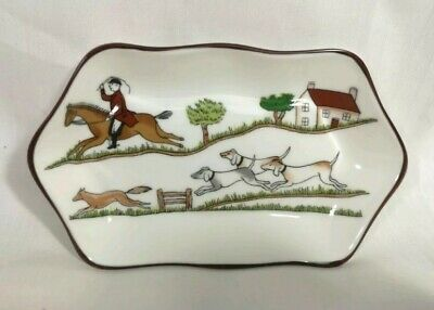 Coalport Hunting Scene Horse Riding Pin Dish Trinket Ring Jewellery Tray China • 16.99£