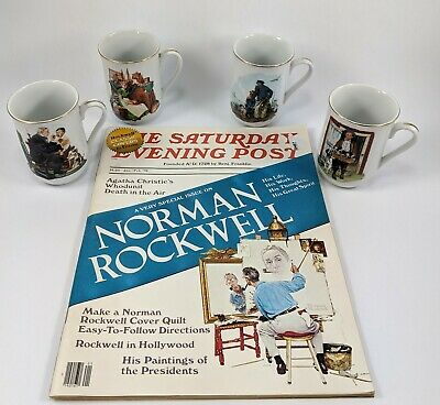 $ CDN23.71 • Buy Norman Rockwell Coffee Cups Mugs Set Of 4 Museum Collection 1986 & Magazine Lot