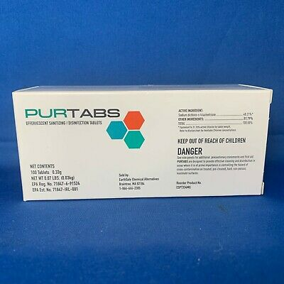 $44.50 • Buy PURTABS VIRAL DISINFECTANT TABLETS HOSPITAL GRADE  EPA-registered FREE SHIPPING!