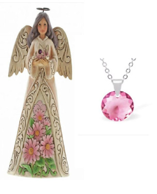 SALE Birthstone Angel Jim Shore Ornament Figurine With Optional Crystal Necklace • 9.95£