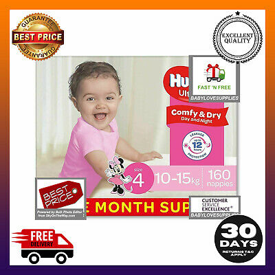 AU73.59 • Buy Huggies Ultra Dry Nappies, Girls, Size 4 Toddler (10-15kg), 160 Count Bulk Pack