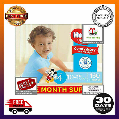 AU76.35 • Buy Huggies Ultra Dry Nappies Boys Size 4 Toddler 10-15kg 160 Count One-Month Supply