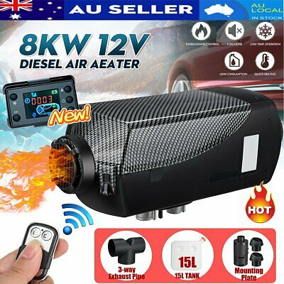 AU157.24 • Buy 8KW 12V Diesel Air Heater Thermostat 15L Tank T Pipe + 2x Vent Caravan Motorhome