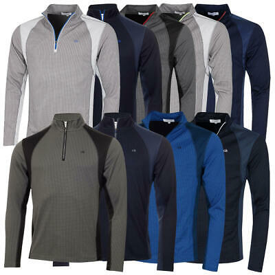Calvin Klein Mens 2020 Micro Grid CK 1/2 Zip Mid Layer Pullover 52% OFF RRP • 28.95£