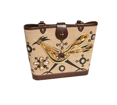 $75 • Buy Vintage 60s ORIGINAL Collins Of Texas ROADRUNNER Canvas & Wood Jeweled PURSE BAG