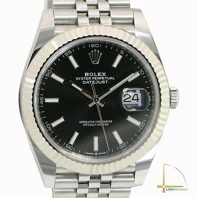 $ CDN12518.49 • Buy Rolex Mens Datejust II 41mm 126334 18KW/SS Black Index Fluted Watch - COMPLETE