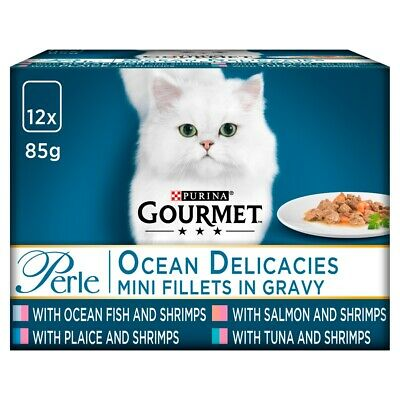 Gourmet Perle Pouch Ocean Delicacies Wet Cat Food Pouches - 12 X 85g • 5.87£