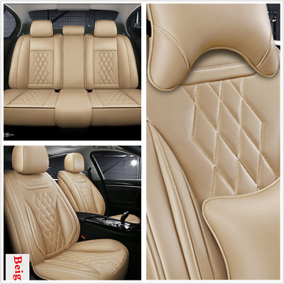$ CDN192.31 • Buy Beige Leather Full Set 5D Surround Car Seat Cover Mat For Interior Accessories