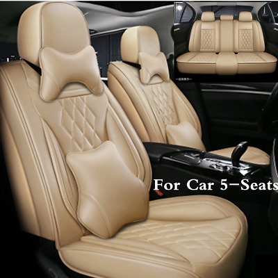$ CDN179.37 • Buy Deluxe Edition Universal Beige Seat Covers 5D Surround Full Set For Car 5-Seats