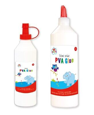 White PVA Glue Childrens Craft School Adhesive Dries Clear On Card Fabric Wood • 3.99£