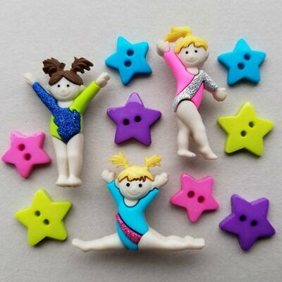 TINY TUMBLERS - Gymnastics Olympics Sport Girl Novelty Dress It Up Craft Buttons • 2.50£