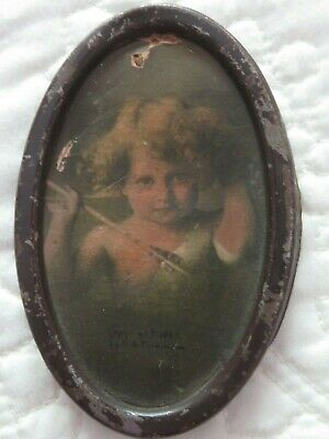 $10 • Buy Antique Photo Sepia Print CUPID WAKE 3.25  Oval Metal Frame 1897 MB Parkinson
