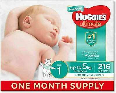 AU73.59 • Buy Huggies Disposable Ultimate Nappies, Unisex,Size 1 Newborn (Up To 5kg) 216 Count