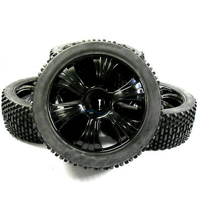 180022 1/8 Scale Off Road Buggy RC Wheels And Block Tread Tyres 6 Spoke Black V3 • 20.99£