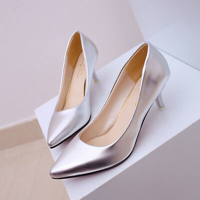 Womens Sexy High Heels Pumps Patent Leather Pointed Toe Dress Shoes Low-Mouth J • 9.64£
