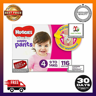 AU73.59 • Buy Huggies Ultra Dry Nappy Pants Girls Size 4 Toddler (9-14kg) 116 Count Australian