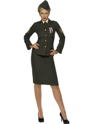 Ladies Fancy Dress Outfit 1940's Wartime Officer Costume Military • 35.99£