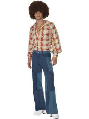 Mens 1970's Fancy Dress Multicoloured Shirt And Patchwork Denim Jeans Outfit • 29.99£