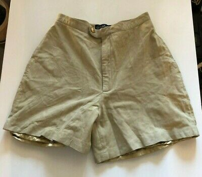 $10 • Buy Vintage High Waisted Genuine Leather Babe Didrikson Beige Shorts Size 4