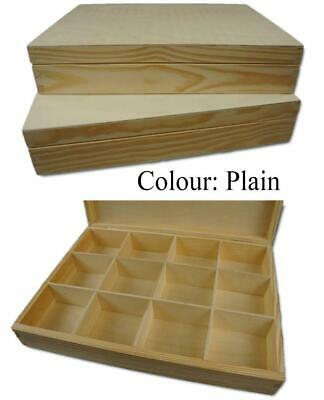 12 Compartment Organizer Storage Wooden Tray | Storage Box Container WITH LID • 15.99£