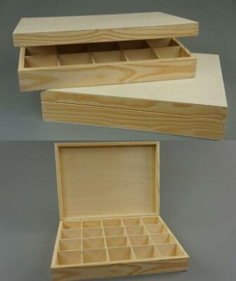 20 Compartment Organizer Storage Wooden Tray | Storage Box Container WITH LID • 17.19£