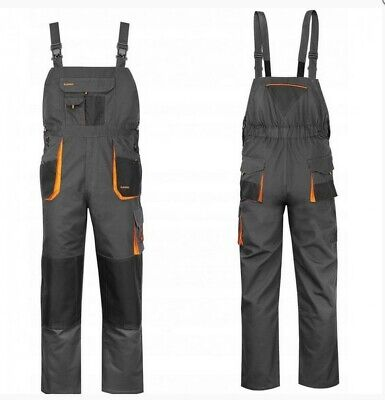 Mens Work Trousers Bib And Brace Overalls Knee Pad Pocket Dungarees MultiPocket. • 16.99£