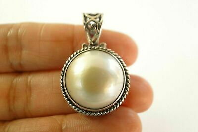 $49 • Buy Round White Mabe Pearl Solitaire Ornate 925 Sterling Silver Pendant