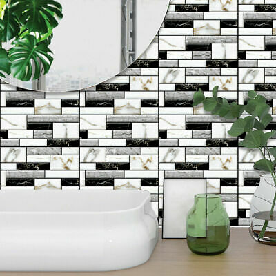 50Pcs 3D Wall Tile Stickers Kitchen Bathroom Mosaic Self-adhesive Decor 30x30cm • 7.89£