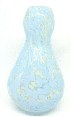 $20 • Buy Vintage Hand Blown Spatter Confetti Art Glass 4  Bud Vase Clear Pale Blue Cream