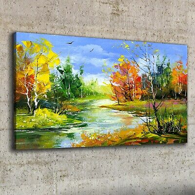 £39.95 • Buy Canvas Print 100x50 Painting Forest Trees River Nature Wall Art Framed Decor