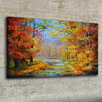 £39.95 • Buy Canvas Print 100x50 Oil Painting Forest Trees Autumn Picture Wall Art Decor