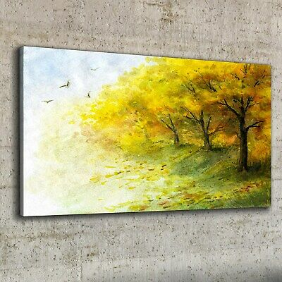 £39.95 • Buy Canvas Print 100x50 Painting Abstract Forest Trees Birds Nature Wall Art Decor