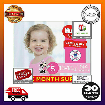AU75.43 • Buy Huggies Disposable Nappies Girls,Size 5 Walker (13-18k) 144 Count Bulk Pack Save