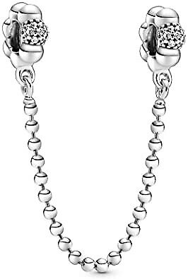 Genuine Pandora ALE 925 Silver Beads & Pave Safety Chain 798680C01 • 13.99£