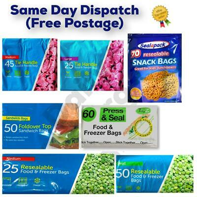 FOOD FREEZER BAGS Tie Handle Bags Resealable Bags Sandwitch Bags All Sizes • 3.69£