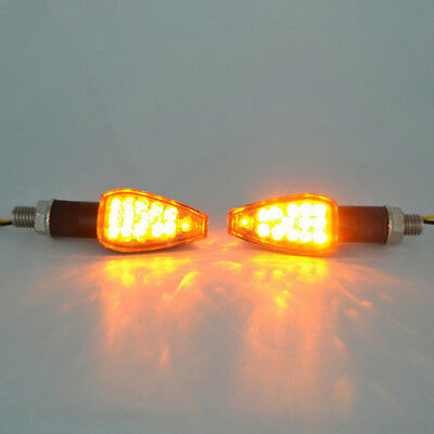 14LED Motorcycle Turn Signal Lamp Amber Light Indicator Universal 12V  JU ~RC • 5.40£