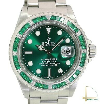 $ CDN19969.67 • Buy Men's Rolex Submariner 16610 40mm SS Green Dial Diamond Emerald Bezel Watch