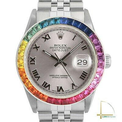 $ CDN7463.27 • Buy Rolex Datejust 36mm SS Rainbow Bezel Grey Roman Numeral Dial Jubilee Watch