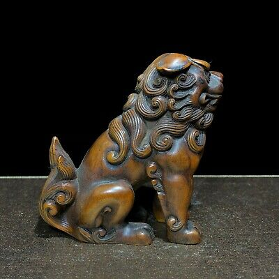 Japanese Netsuke Collectible Old Vintage Boxwood Carved Lion Ornament Statue C92 • 39£