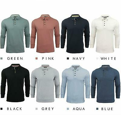 Brave Soul Lincoln Mens Polo T Shirt Long Sleeve Cotton Pique Casual Tops Shirts • 10.99£