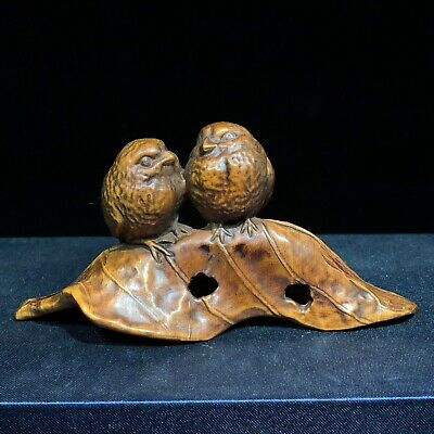 Collectible Old Vintage Boxwood Carved Leaf & Pair Bird Japanese Netsuke Statue • 29£