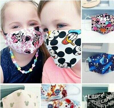 Face Mask For Kids Teenagers  Disnney Pattern LOoLL FROZN MINE CRAFT Handmade  . • 2.95£