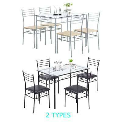 $136.95 • Buy 5 Piece Glass Dining Table Set 4 Chairs Kitchen Room Breakfast Black/Silver NEW