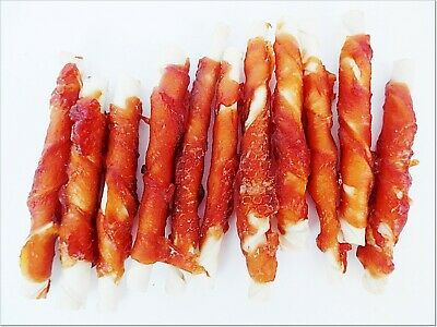 💛 CHICKEN RAWHIDE STICKS Twists Chews Chewy Long Lasting Beef Wrapped Rolls • 4.59£