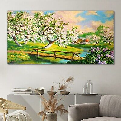 £99.95 • Buy Canvas Print Countryside River Trees Flowers Nature Picture Wall Art 140x70