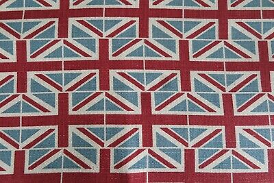 EMILY BOND CURTAIN FABRIC DESIGN  Flags  2 METRES 100% LINEN UNION JACK FLAGS • 63.99£