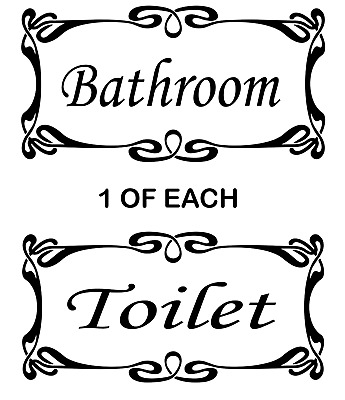BATHROOM And Toilet DOOR Wall Stickers Vinyl Decals Decoration 180mm X 90mm Wide • 3.49£