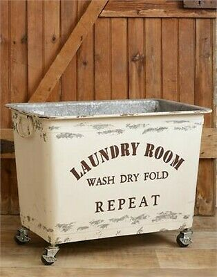 $170.99 • Buy Country New LAUNDRY Cart  On Wheels - Wash -Dry -Fold Repeat