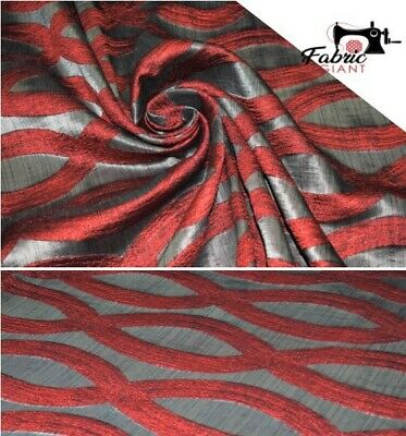 Premium Red& Grey Geometric Designs Furnishing And Upholstery Fabric,150 Cm Wide • 7.69£