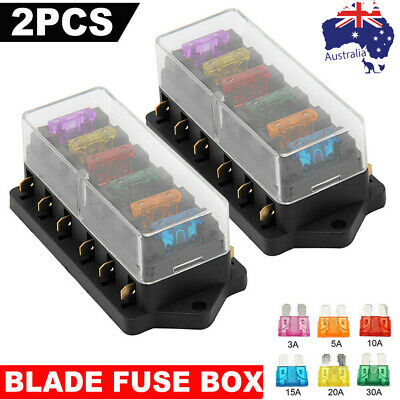 AU12.90 • Buy 6 Way Fuse Holder Box Car Vehicle Automotive Circuit Blade Fuse Block With Fuses